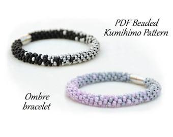 PDF Beaded Kumihimo Pattern - Ombre Kumihimo bracelet – bead layout instruction