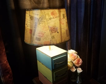 Stacked Drawers Lamp - antique lamps, distressed lamps, rustic lamp.
