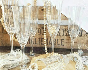 Service 6 flutes champagne in Crystal