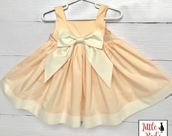 Little Girl's Dress - Spring Dress - Easter Dress - Flower Girl Dress - Peach and Ivory Dress - Big Bow on Center - Timeless Dress