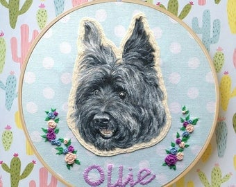 "Personalized Pet Portrait with Embroidered Name and Flowers on 8"" Embroidery Hoop"