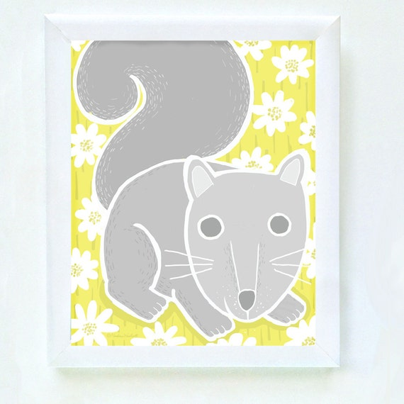 Woodland squirrel print for nursery or bedroom wall, gray squirrel, set of 4, art for kid's walls, squirrel art, kid's decor, gray, yellow
