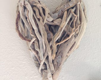 Driftwood heart with sea / beach glass  Free Shipping !
