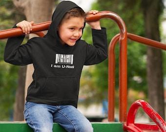 I am u-neek - kids hoodie - Inspirational Quote - White - Unique