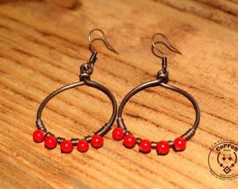 Copper earrings, long earrings, copper jewelry