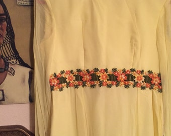 60's yellow flowered dress