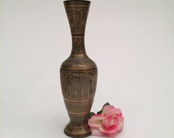 Stunning Vintage Brass Etched Vase