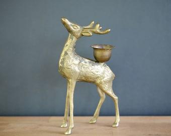 Brass deer candle holder, figurine, solid, buck, candlestick