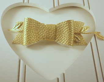 Gold Faux Leather and Lace Bow