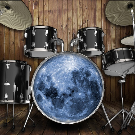 moon drum skin for bass snare and tom drums to customize. Black Bedroom Furniture Sets. Home Design Ideas