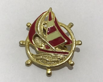 PIN old vintage gold and red enameled brooch boat 1960 jewelry
