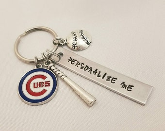 Personalized Chicago Cubs Keychain - Customized Gift For Him - Gift For Her - MLB Baseball Fan