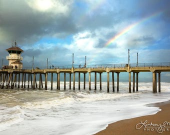 "Huntington Beach Photo | ""Pier Rainbow"" | Huntington Beach Pier Print | Beach Wall Art | Rainbow Beach Photo - Rainbow Pier Art - Beach Art"