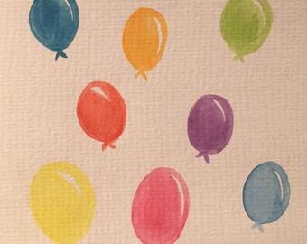 Watercolour Balloon Greetings Card