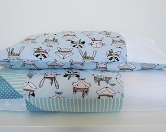 Rabbits, Raccoon, boy, cot quilt, blanket, nursery, baby, blue, white, dots, gray, strips