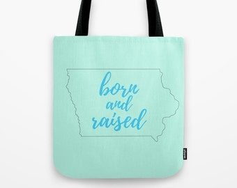 Iowa Gifts For Her Under 50, Born and Raised, Reusable Produce Bag, Iowa Home, College Graduation Gift for Women, Small Tote Bag Purse
