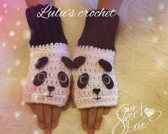 """Fingerless gloves """"Panda bear"""", mitts, gift for girls, gloves, fingerless gloves, calientabrazos,"""