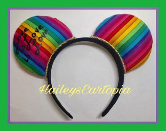Rainbow Mouse Ears, bow added for free if desired! Love is love is love, pride mouse ears
