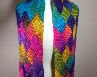 multicolor scarf, hand knit scarf, entrelac scarf, long scarf, worsted weight scarf, feminine scarf, colorful scarf, patterned scarf, warm s