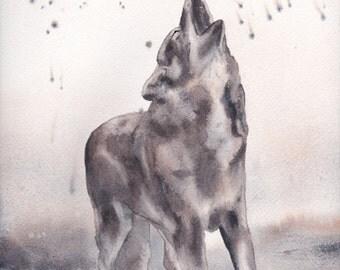 Wolf howl watercolor print