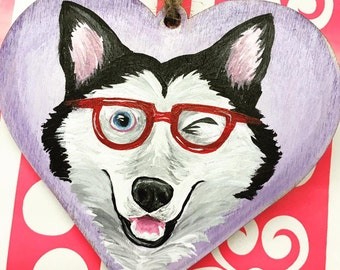 Hand Painted Wooden Heart Husky/Dog Portrait Valentines Day Pet