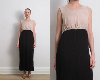 80s Minimalist Black Tan Colorblock Sundress / M
