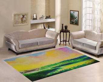 Area Rug 7'×5' +3 other sizes -Dawn Lake- FREE Shipping