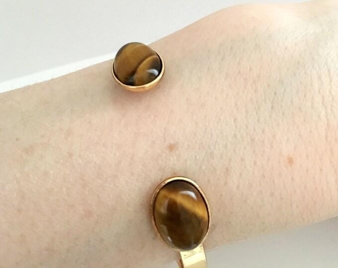 Stone bracelet, Golden cuff bracelet and tiger eye gemstone