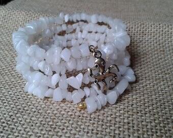 Discount gemstone bracelet, gemstone bracelet, bracelet agate multiturn, adaptive, spring, white