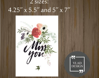 Printable Miss you card Gift card Printable cards Instant download DIY Fall in love card