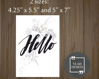 Printable Hello card Gift card Printable cards Instant download DIY Hello card
