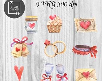 9 Watercolor Wedding Elements Wedding Clipart Love Clipart Digital Wedding Elements Cute Wedding graphics Romantic clipart
