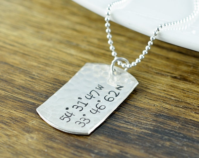 Sterling Silver Dog Tag Necklace, Coordinate Necklace, GPS Coordinates Gift, Personalized Mens Necklace, Mens Jewelry, Mens Gift