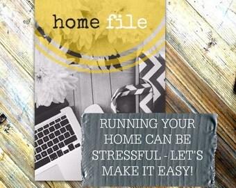 HOME FILE - A4 - Home Management Binder - Printable Home Planner - Instant Digital Download