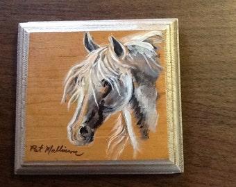 "Horse painting.  Original painting.  On wood.  Animal art.  5 1/2"" square"