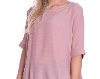 Casual Breezy Light Loose Summer Baggy Top Half Sleeve Round Neck Blush Pink