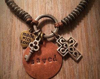 Saved Bracelet Christian Jewelry Cross Key to Life