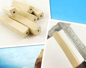 20pieces Unfinished Geometry Natural Wood Long Cuboid Beads Blocks accessories