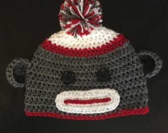 Crochet Sock Monkey Hat; Boy's Hat; Girl Hat