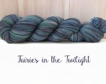 "Merino-Silk Lace Yarn ""Fairies in the Twilight"" Hand-dyed"