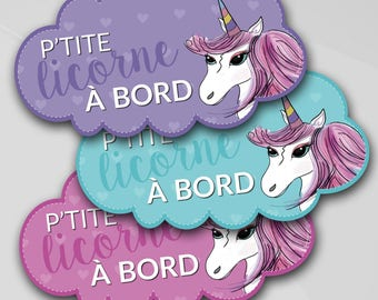 "Baby on board car sticker ""P' little Unicorn on board"", special edition artist Scott, vinyl lettering pantyhose for self"