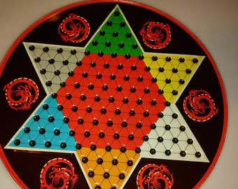 1970s _Chinese and Regular Checkers Game Set by Ohio Art # 537, Colorful Tin, Instructions, Original Box, CZSD
