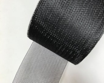 "4""inch Wide Stiff Polyester Black Horsehair Braid, Selling Per Roll/50 Yards"