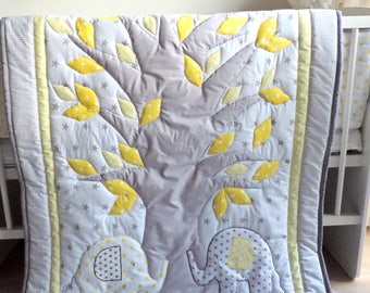 Elephant Baby Boy Nursery Bedding Set - Elephant Grey Quilt Baby Blanket - Elephant Crib Bedding - Patchwork Quilt - Elephant Baby Shower