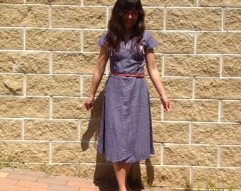 80s dress. Striped cotton dress. Vintage dress. Striped dress.
