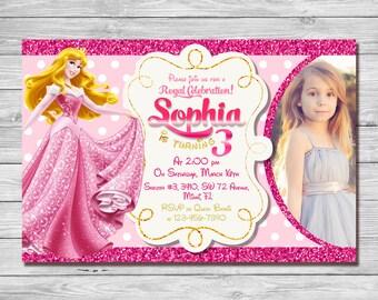 Sleeping Beauty Invitation, Sleeping Beauty Birthday Invitation, Princess Aurora Invitation, Princess Aurora Thank You Card | MAAU_3
