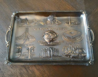 Vintage 1964-1965 New York World's Fair Steel Bronze Unisphere Plate, Made In Japan