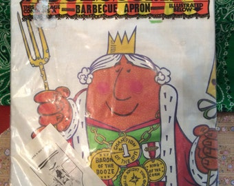 Vintage Parvin Barbecue Apron/ King For A Day/Vintage Cotton Apron