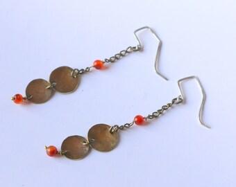 Drop earrings, red onyx, Carnelian, golden color, long earrings, gift, woman gift