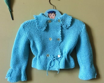 Vintage baby cardigan / sweater. Turquois blue with tie waist and fancy collar. Unworn new vintage 1970s. Age 6 months - age  12  months